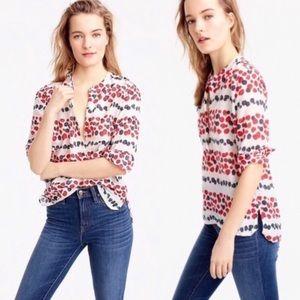 J crew mixed berry popover blouse 0089